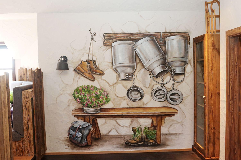 Rustikale Wandmalerei Beim Hapimag Am Nassfeld Wall Painting For The Hotel Hapimag At The Skiing Area Nassfeld Wandmalerei Wandgestaltung Wand Ideen