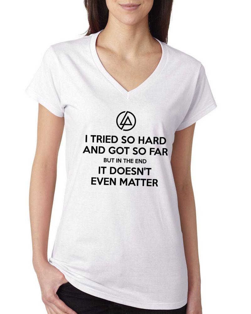 Linkin Park Logo Shirt In The End Lyrics Chester Bennington Women V-neck t- shirt 1fb50995634c