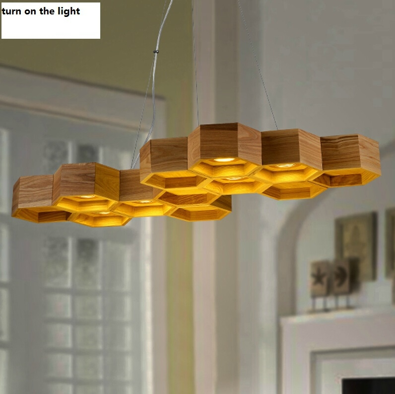 419.25$  Buy here - http://alihdr.worldwells.pw/go.php?t=32315250710 - Honeycomb wooden L95CM 6 lights  Chinese style chandeliers  art creative countryside restaurant rural solid wood pendant lamps 419.25$