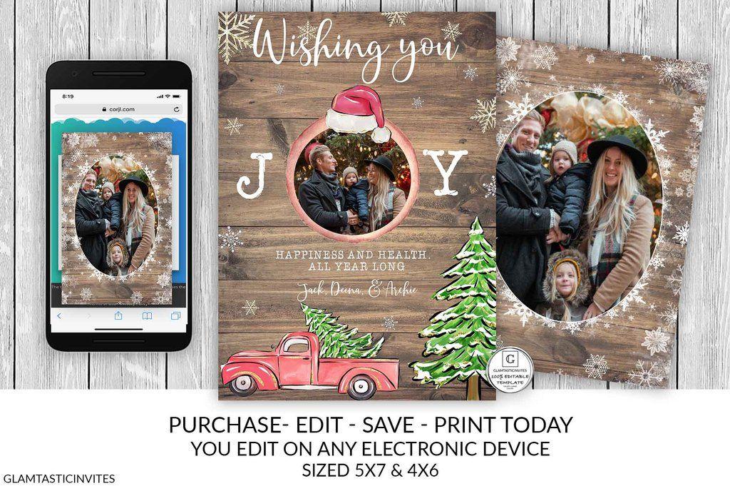 Christmas Card Template Printable Photo Christmas Card Holiday Card Template Joy Christmas Card Editable Red Truck Snowflake Diy Card Christmas Card Template Holiday Card Template Joy Christmas Card