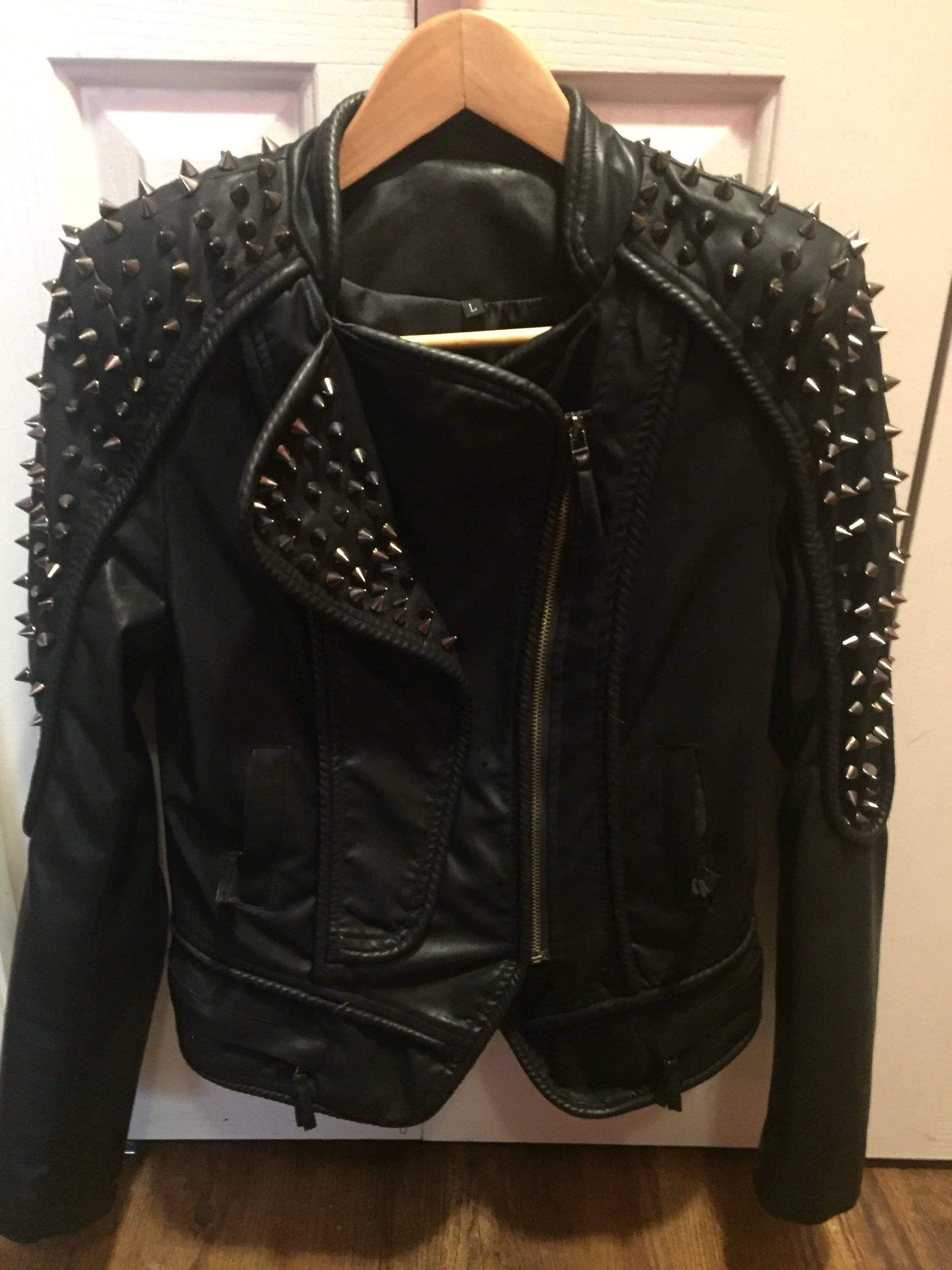 Vintage 80s Cone Studded faux Leather Jacket Diy clothes