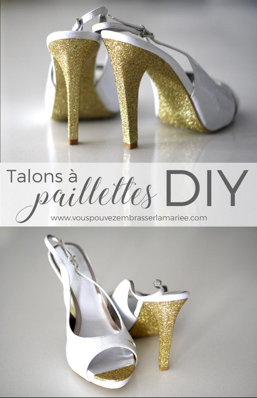 Projet DIY super facile et vraiment sublime ! Je pourrais donner un petit côté glamour à mes escarpins en un clin d'oeil. Ça me fait penser aux chaussures Kate Spade avec les paillettes sur la semelle et sur le talon. A essayer !