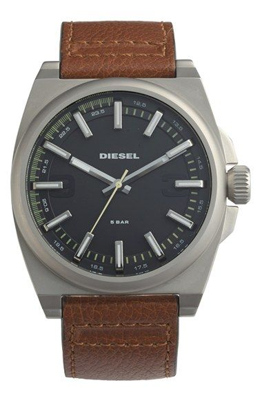 DIESEL®+Round+Leather+Strap+Watch+Set,+46mm+available+at+#Nordstrom