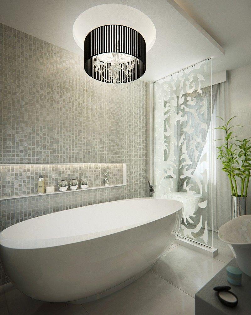 Luxus fürdőszoba falfülkével mozaik burkolat dd interior