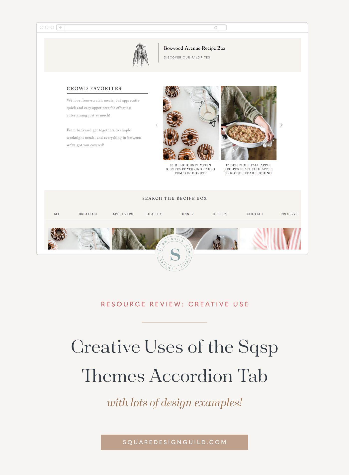 Creative Uses Of The Sqspthemes Accordion Tab Square Design Guild Web Development Design Squarespace Web Design Creative
