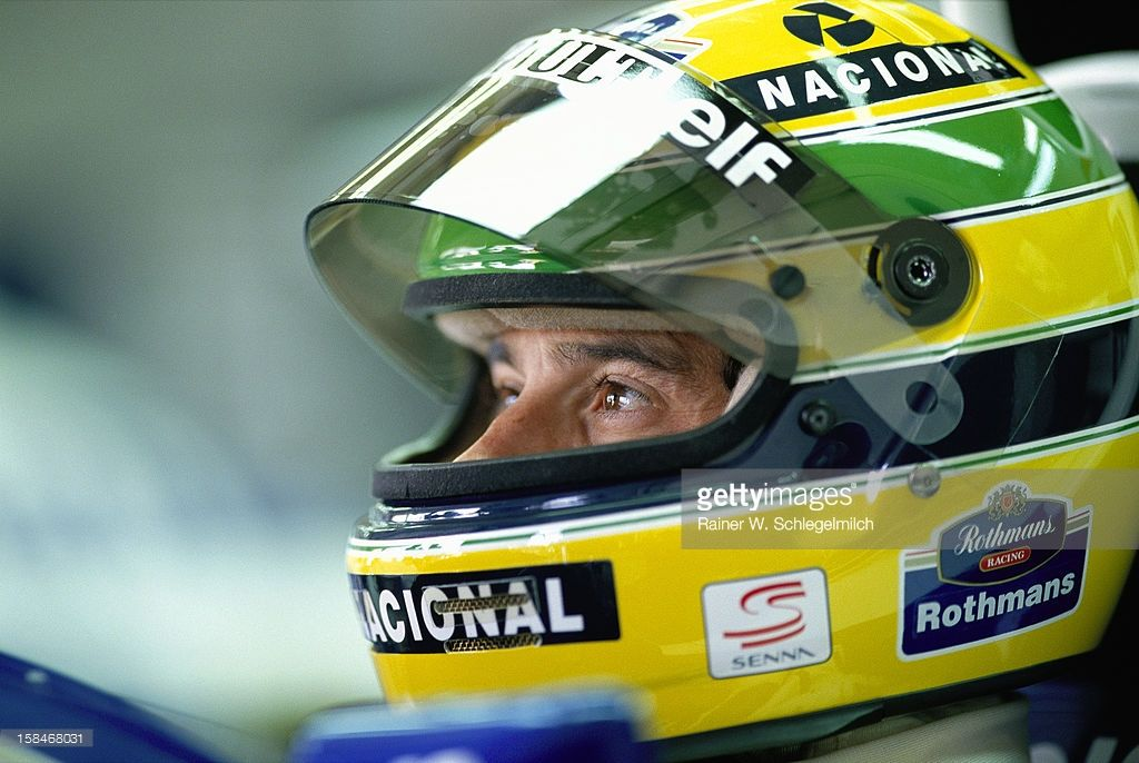 Senna in his Williams cockpit during Sunday morning warm-up, GP Imola 1994, Imola, San Marino, 1994.