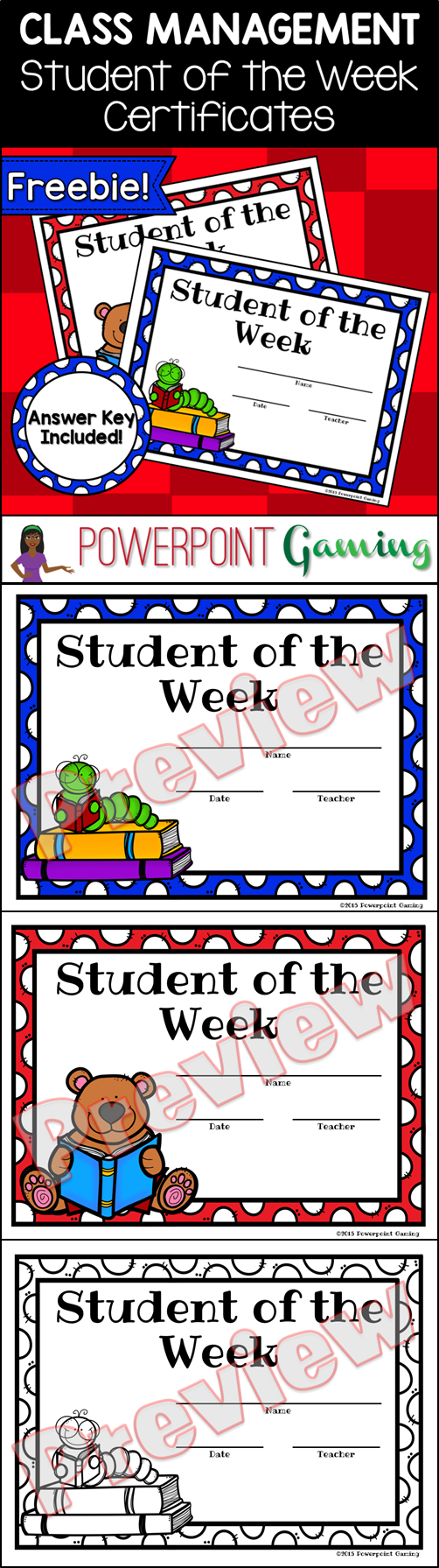 Freebie Student Of The Week Certificates School Forms