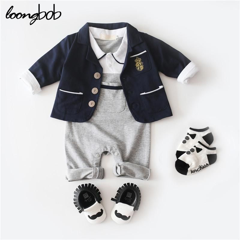2PC Fall/Winter Baby Boy's Gentleman Jumpsuit   Blazer Set