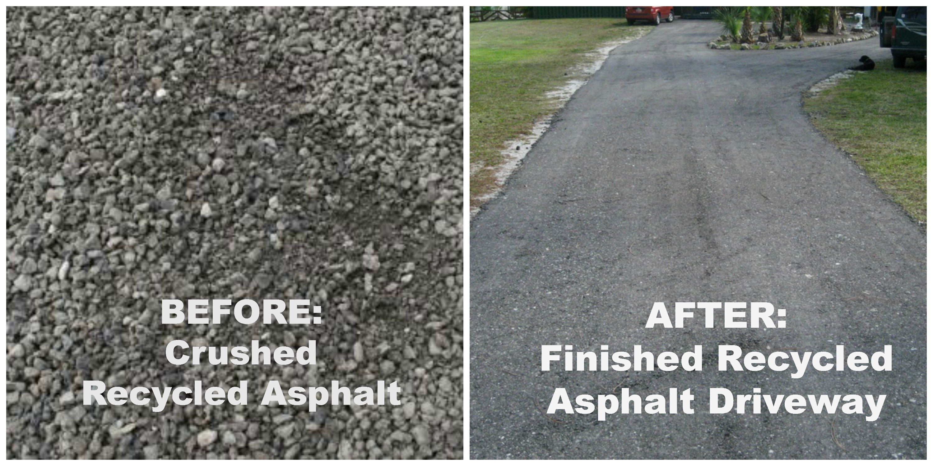 Recycled asphalt benefits the earth and your wallet outdoor no mud to track into your barn or truck with this affordable crushed recycled asphalt driveway solutioingenieria Images