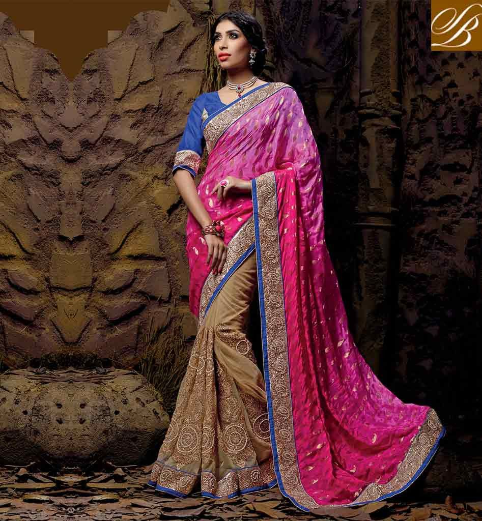 SOUTH INDIAN WEDDING SAREE BLOUSE DESIGNS ONLINE SHOPPING SIMPLE PINK AND CHIKOO NET VISCOSE IMPRESSIVE