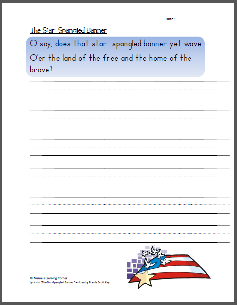 Handwriting The Star Spangled Banner Copywork 4th Of July