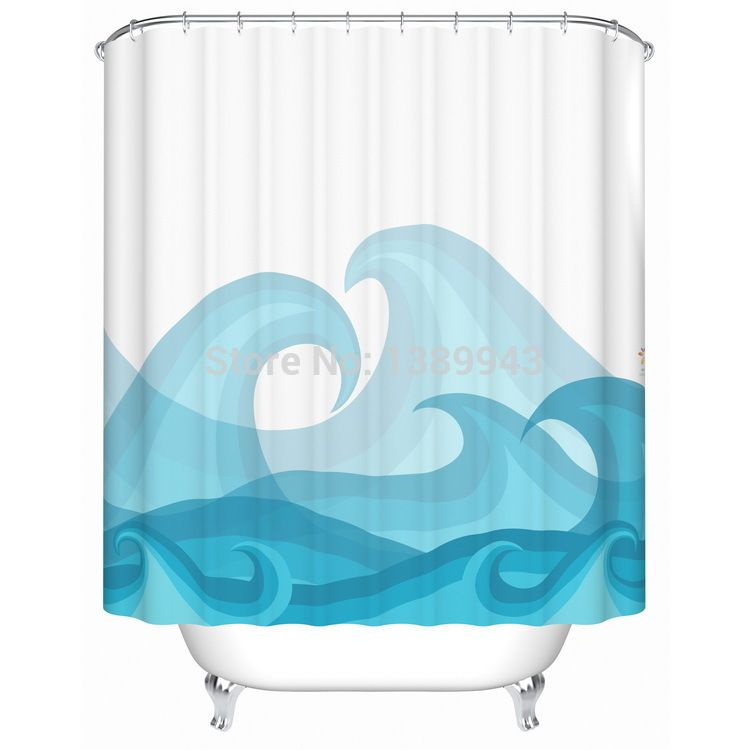 Famous Designer Beautiful Individual Ocean Blue Shower Curtain Bathroom Thicken Waterproof Bath Shade For In Curtains From Home Garden