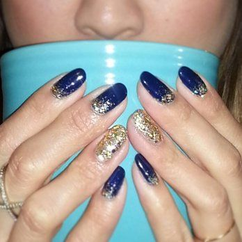Acrylic Navy Blue Nails | nail designs | Pinterest | Navy blue nails ...