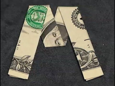 Fold Origami Dollar Bill Alphabet Letter M  Youtube  Gift Cards