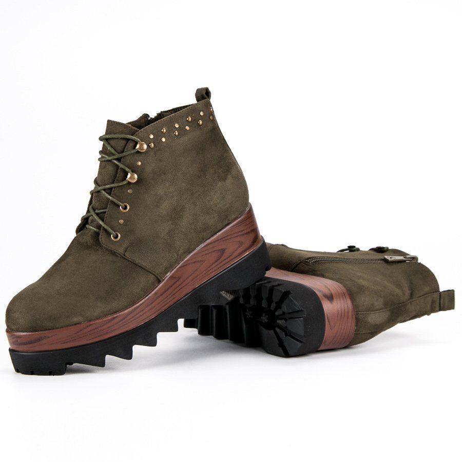Kylie Zamszowe Botki Na Koturnie Zielone Hiking Boots Shoes Boots