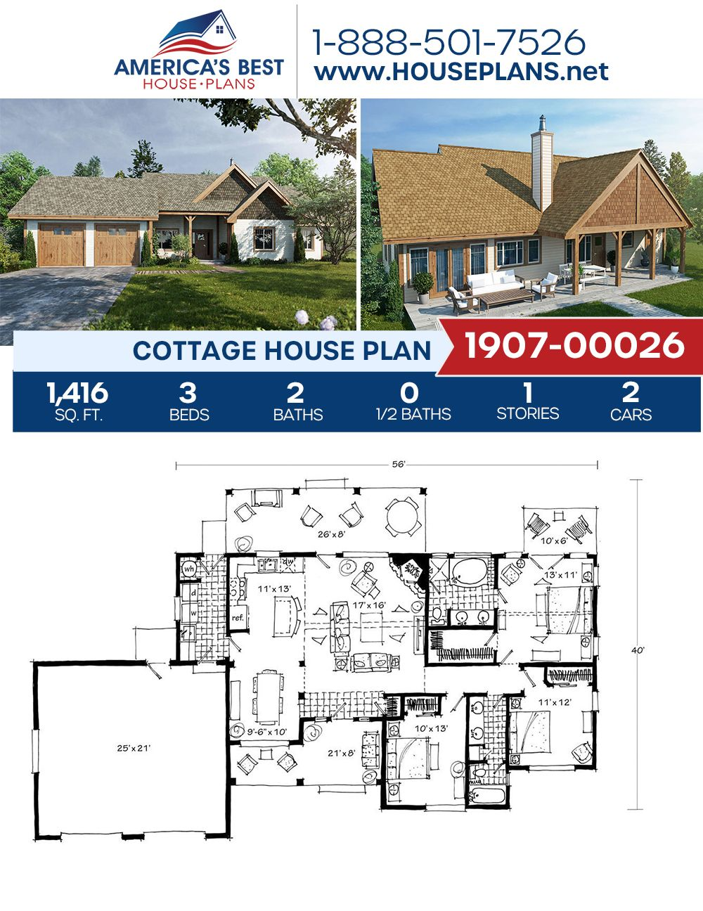 House Plan 1907 00026 Cottage Plan 1 416 Square Feet 3 Bedrooms 2 Bathrooms In 2020 Cottage House Plans Cottage Plan Dream House Plans
