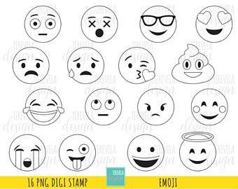 80 sale emoji digital stamps emoticons digi stamps commercial use emoji coloring - Coloring Page Emoji