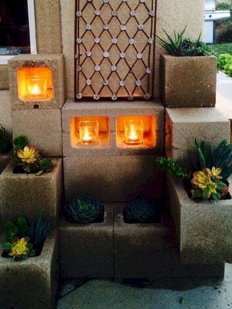 58+ Inspiring Way To Decor Your Garden And Home With ... on Backyard Cinder Block Wall Ideas id=94570