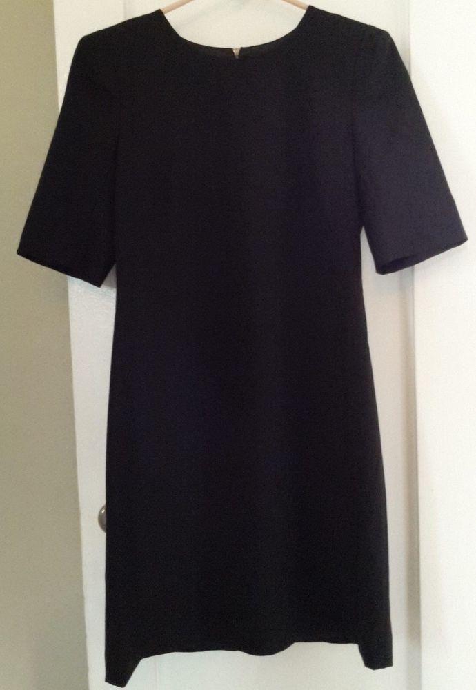 e2b62edd7f652 Theory Classic black wool knee-length short sleeve sheath dress sz 8   Theory  Sheath