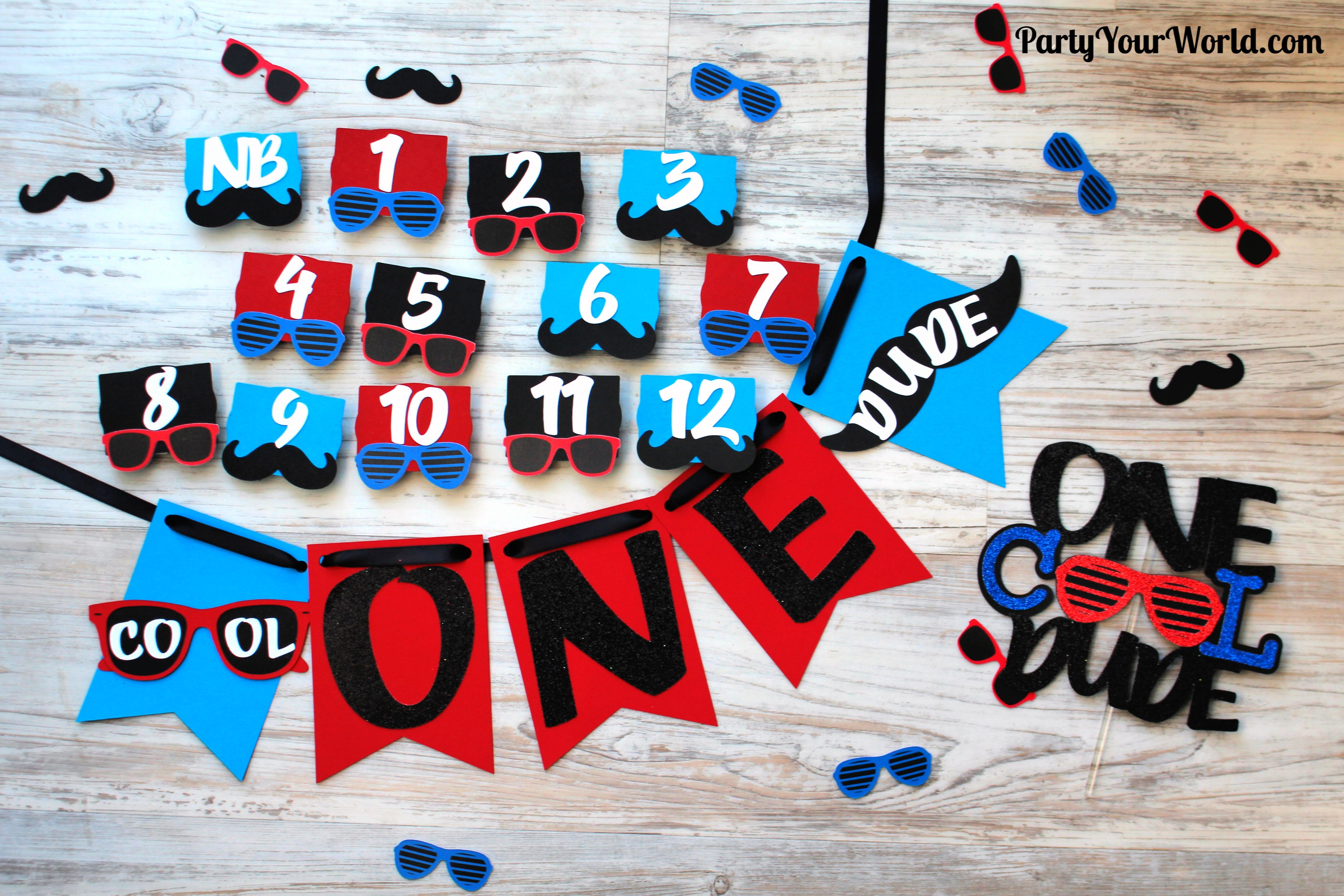 First Year Banner set of 13 First Year Photo Clips Sports Choose Your Colors Team Colors First Birthday Party Football Theme