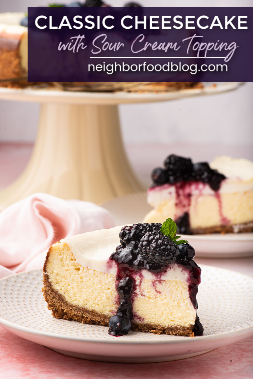 Easy Cheesecake Recipe With Sour Cream Topping In 2020 Sour Cream Recipes Easy Cheesecake Recipes Sour Cream Cheesecake