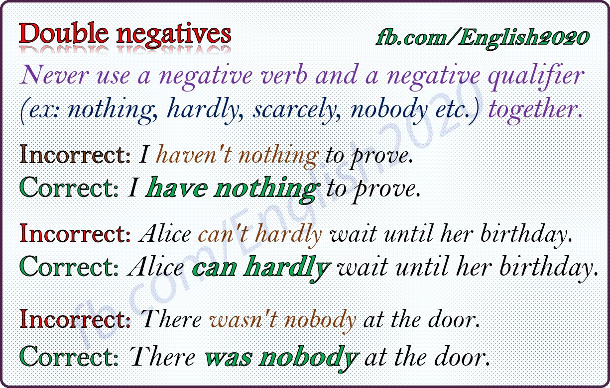 Double Negatives Negativity Learn English Teaching English [ 780 x 1225 Pixel ]