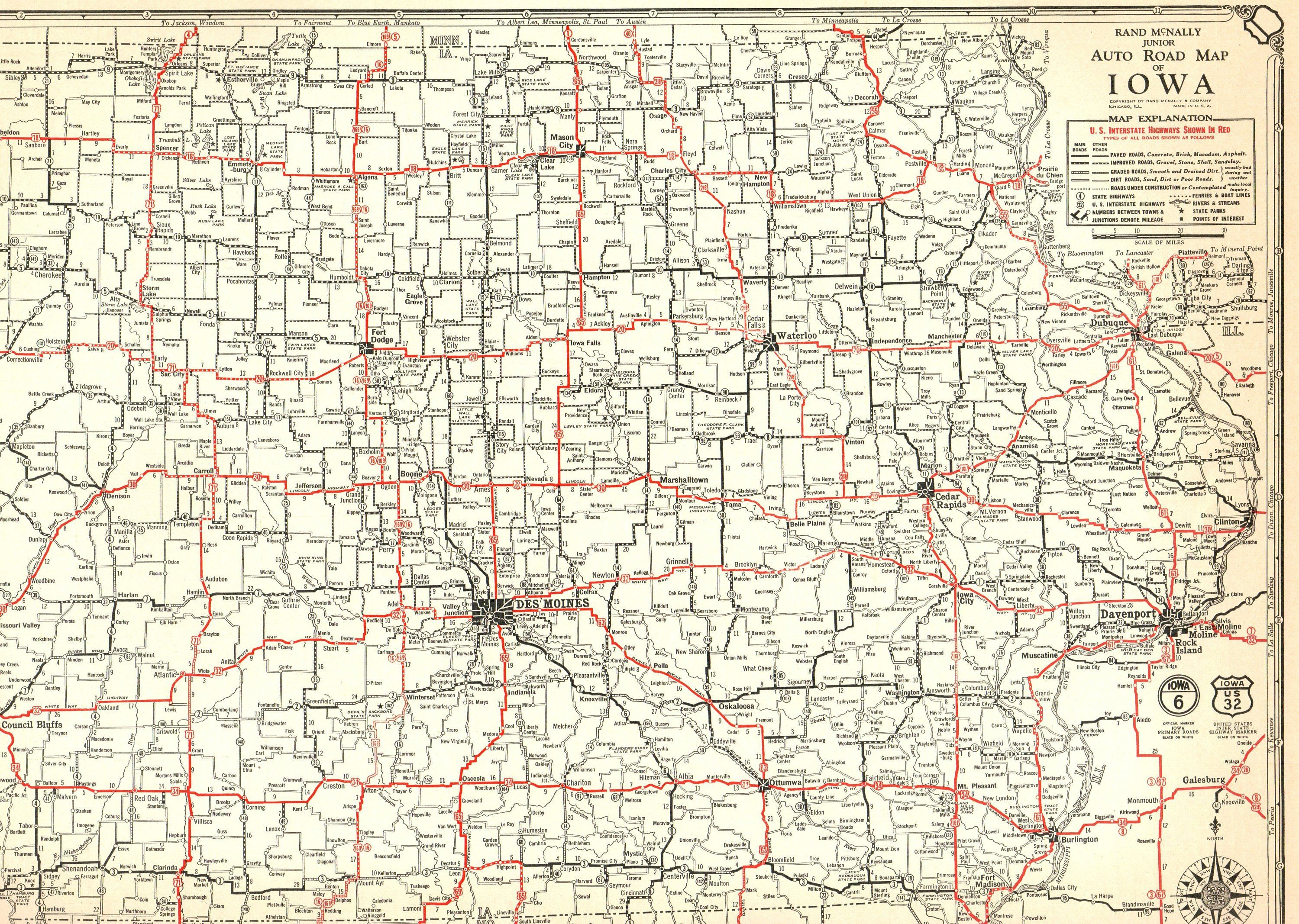 Antique IOWA Map of Iowa Poster Size 1932 Iowa Road Map Gallery Wall