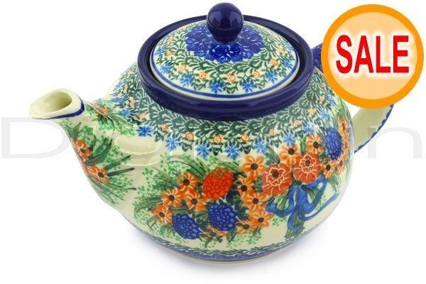 Polmedia Polish Pottery 40 oz Stoneware Tea or Coffee Pot H3650G Unikat