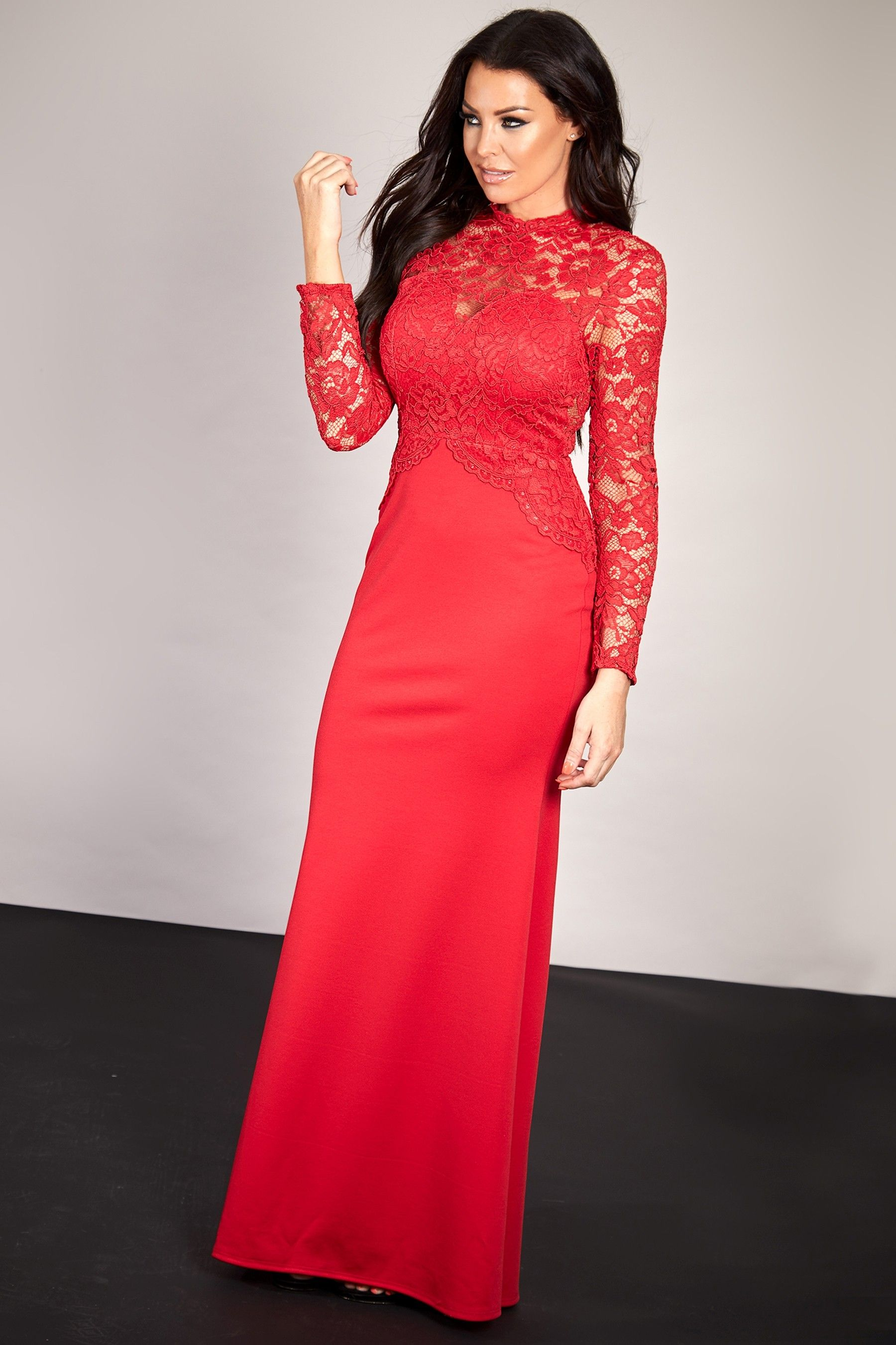 Womens Sistaglam Loves Jessica Wright Lace Long Sleeve Maxi