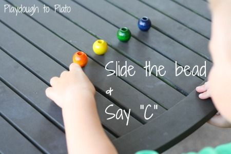 """A """"Slide and Say"""" game to help with letter sounds in words on Playdough to Plato"""