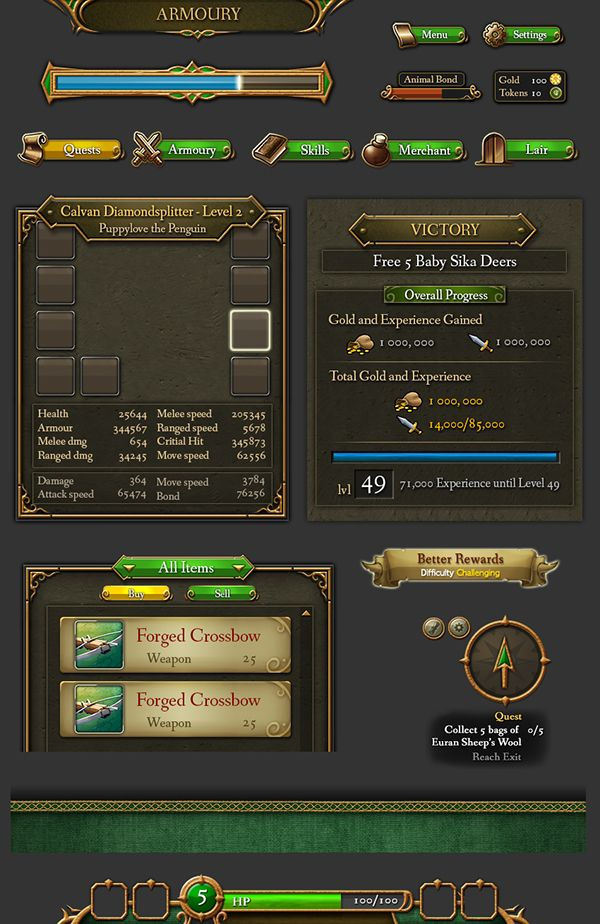 2D User Interface elements (Web Game)