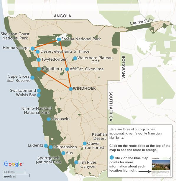Namibia Itineraries Maps Suggested Namibia Itineraries From