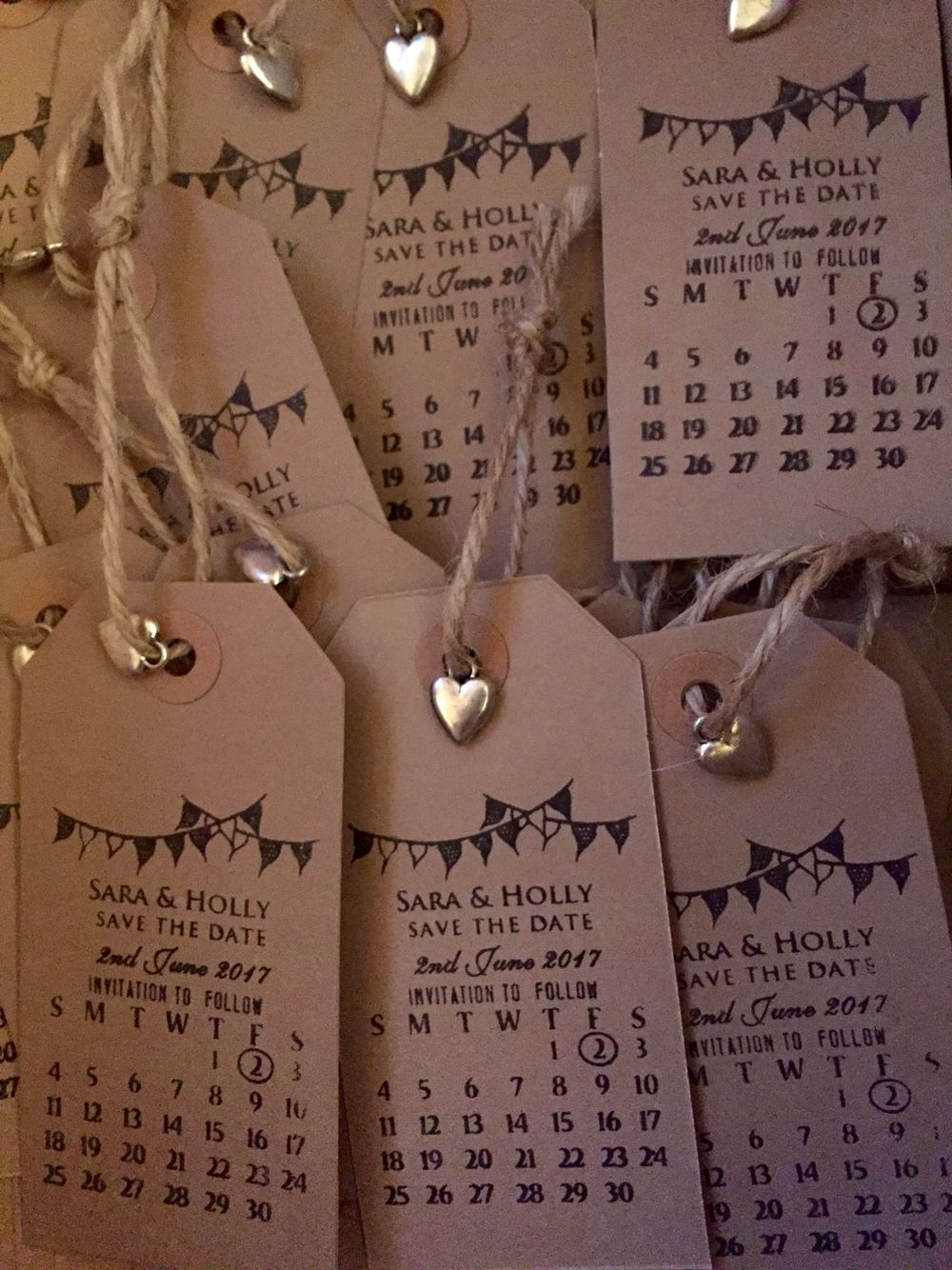 Our beautiful handmade luggage tag and stamp Save the Dates for our ...