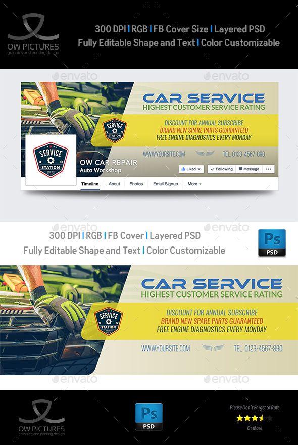 Car Service Facebook Cover - #Facebook Timeline #Covers #Social Media Download here: https://graphicriver.net/item/car-service-facebook-cover/20329270?ref=alena994