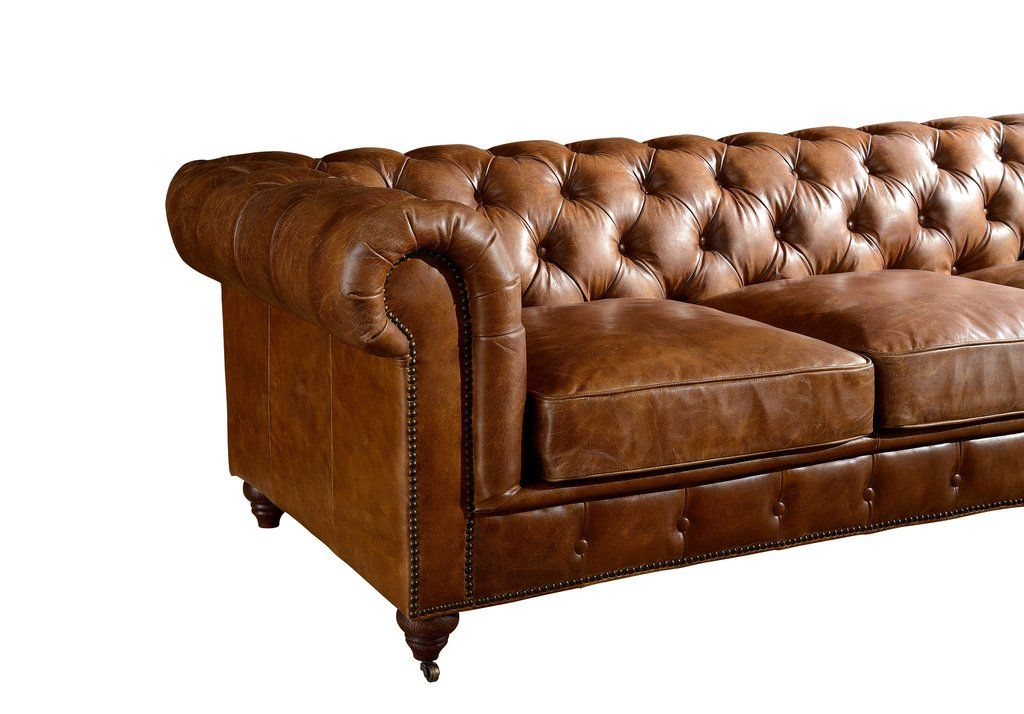 Century chesterfield sofa light brown leather muebles