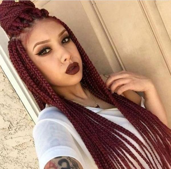 Burgundy Box Braids Hairstyles for Black Women. In this post, you will find Updo...,  #Black #Box #braidedhairstylewithbeads #Braids #Burgundy #find #Hairstyles #post #updo #Women