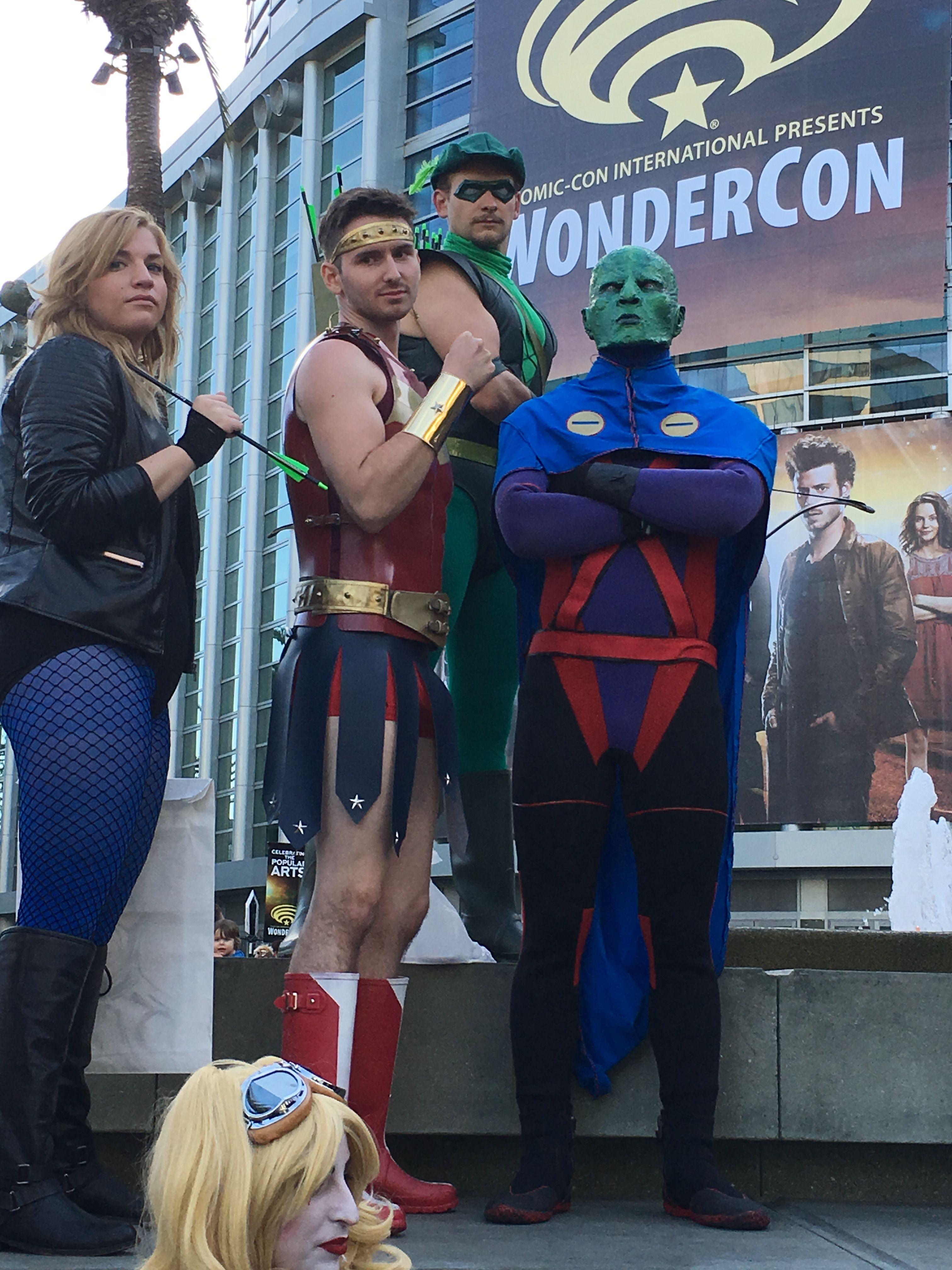 Black Canary, Captain Wonder, Green Lantern and Martian Manhunter cosplay at WonderCon 2017 #wondercon2017