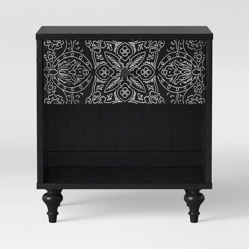 Best Muscari Carved Wood Nightstand Black Opalhouse White 400 x 300