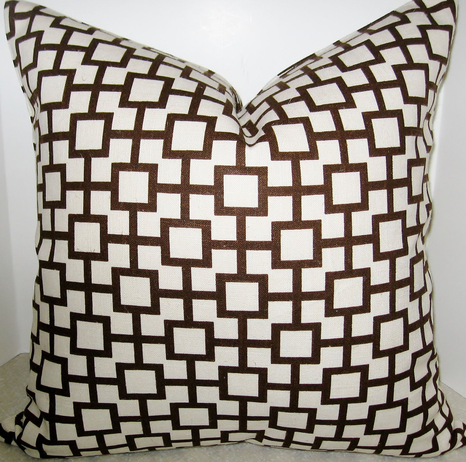 BOTH SIDES 20 x 20 Cats Cradle Amber brown beige cream square geometric pillow cover Robert Allen. $38.00, via Etsy.