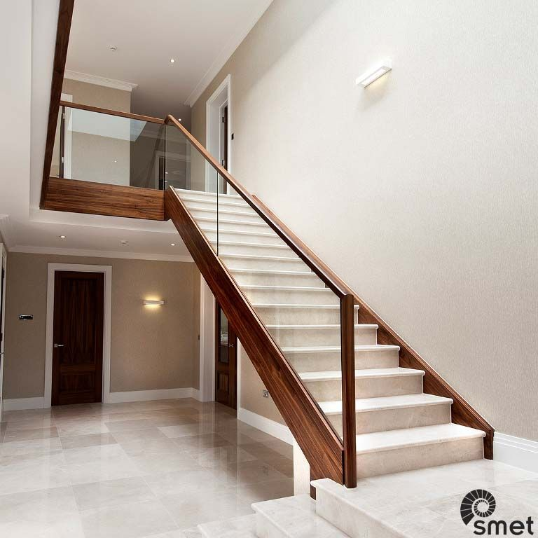 Best Straight Black American Walnut Staircase With Marble 400 x 300