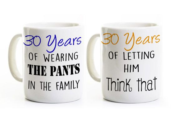 Th anniversary gift couples coffee mugs by perksandrecreation