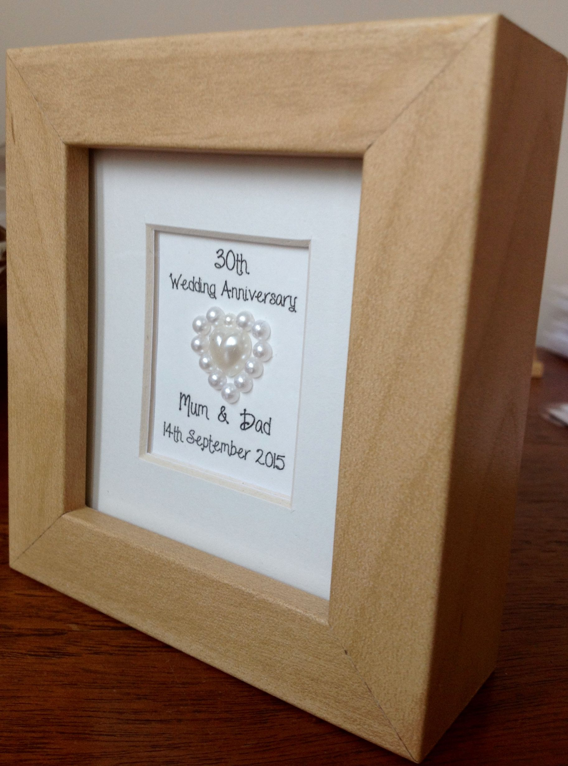 30th pearl wedding anniversary mini frame personalised