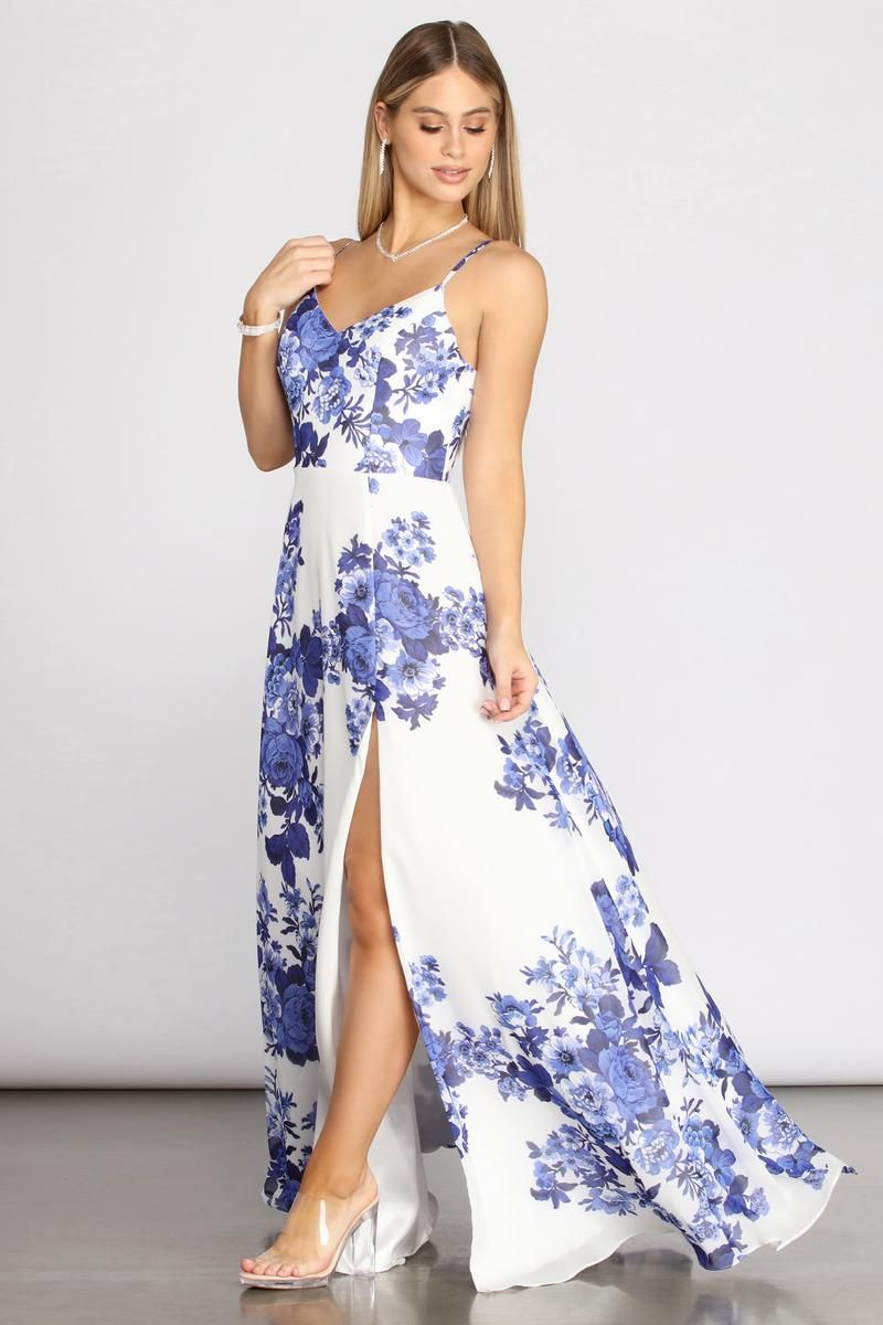 Kiana Floral Chiffon A Line Dress In 2021 White Floral Maxi Dress Floral Blue Dress Spring Wedding Guest Dress [ 1200 x 800 Pixel ]