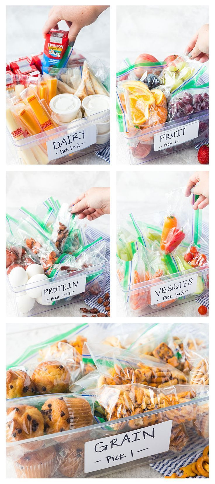 5 bins full of organic foods for kids to build their own lunches with, making ba... - -