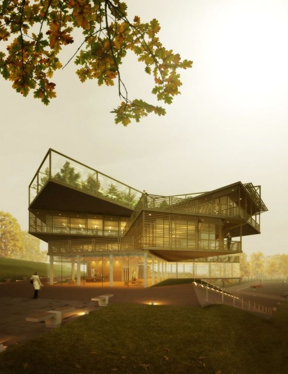 Derek jackson for the beautiful asymmetrical layering effect of his building with a green roof