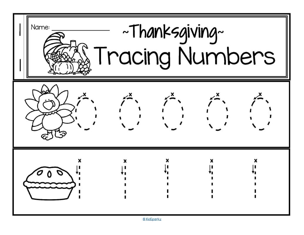 Thanksgiving Theme Fine Motor Trace Numbers 0 20