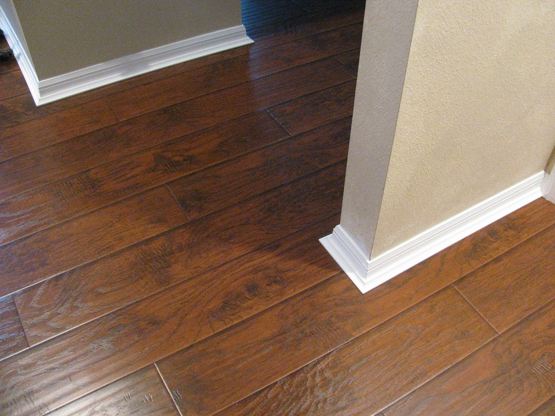 Rustic laminate with baseboard detail