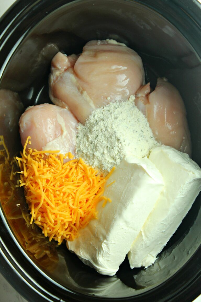 Slow Cooker Cream Cheese Crack Chicken #crockpotmeals
