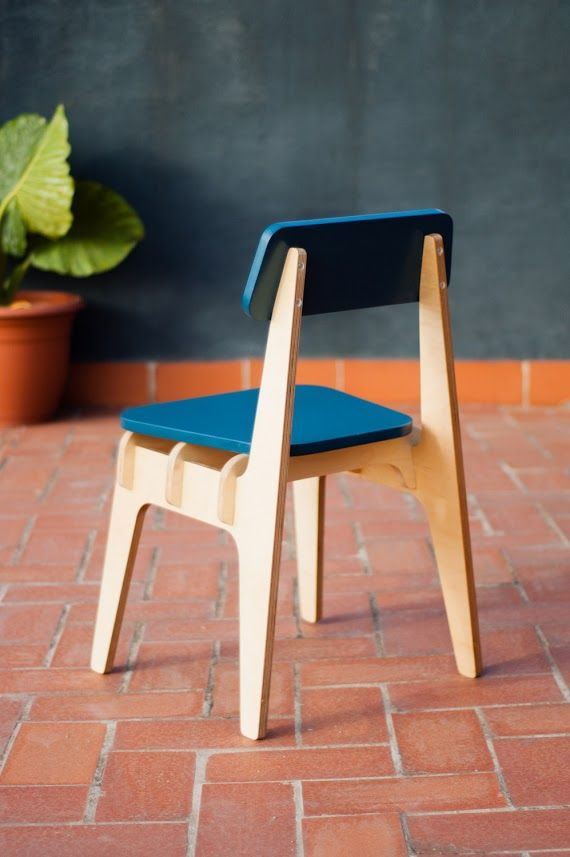 Chair Made From 18 Mm Thick Birch Phenolic Plywood And Blue DM For The Seat  And