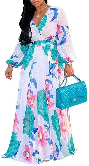 0891f77687a EastLife Womens Chiffon Floral Maxi Dresses Deep V Neck Long Sleeve Summer  High Waisted Dress